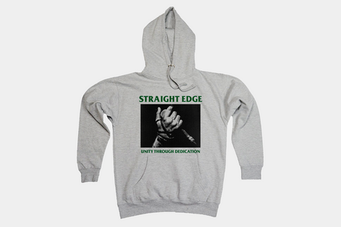 Unity Through Dedication Straight Edge Hoodie in Gray by STRAIGHTEDGEWORLDWIDE