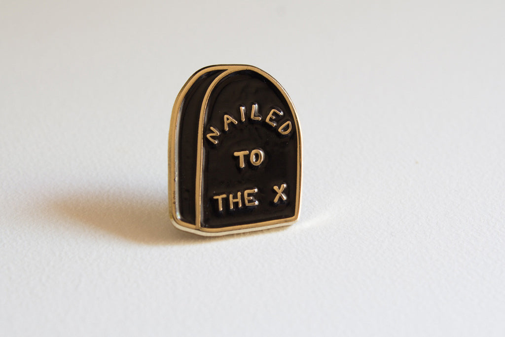 Nailed To The X Straight edge lapel pin by STRAIGHTEDGEWORLDWIDE