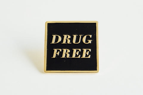 Drug Free Square Straight Edge Lapel Pin in black and gold by STRAIGHTEDGEWORLDWIDE