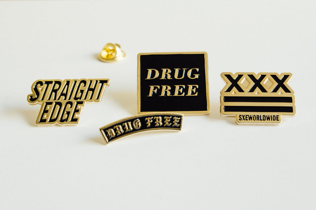 Drug Free Square Lapel Pin