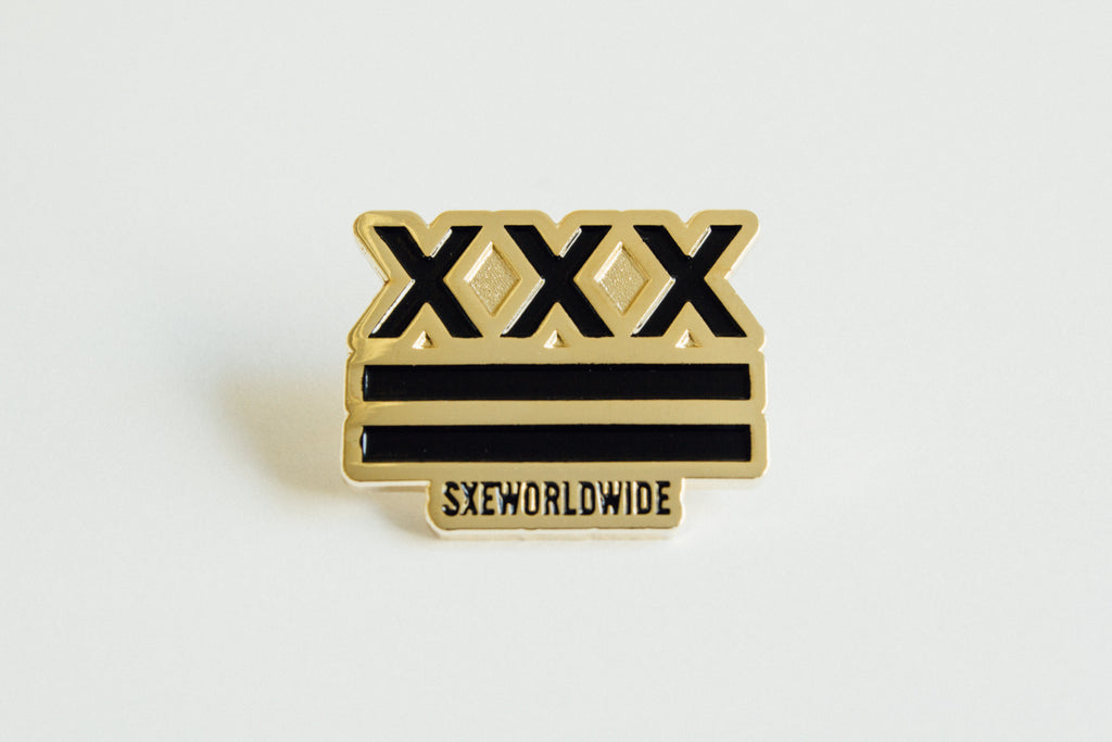 SXE Flag Straight Edge Lapel Pin in black and gold by STRAIGHTEDGEWORLDWIDE