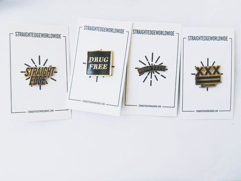 Straight Edge and Drug Free Lapel Pins by STRAIGHTEDGEWORLDWIDE