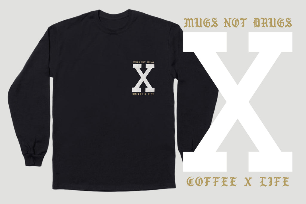 Coffee x Life black long sleeve tee tshirt by STRAIGHTEDGEWORLDWIDE