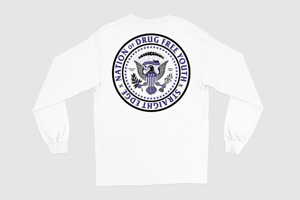 Nation of Drug Free Youth Straight Edge long sleeve t-shirt in white by STRAIGHTEDGEWORLDWIDE