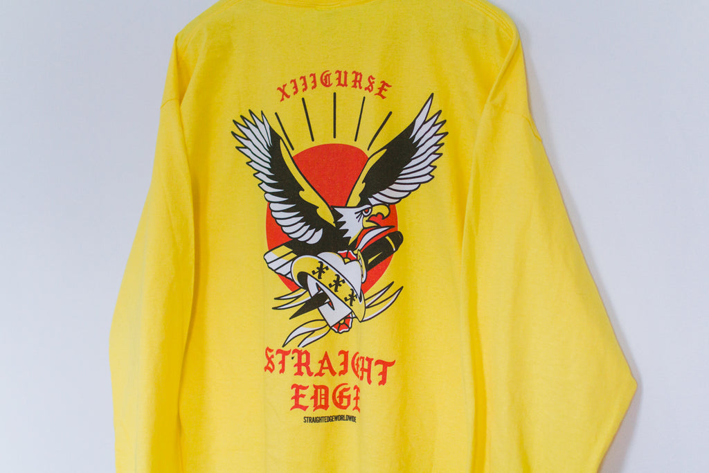 XIIICurse Straight Edge Eagle Yellow Long Sleeve tshirt by STRAIGHTEDGEWORLDWIDE