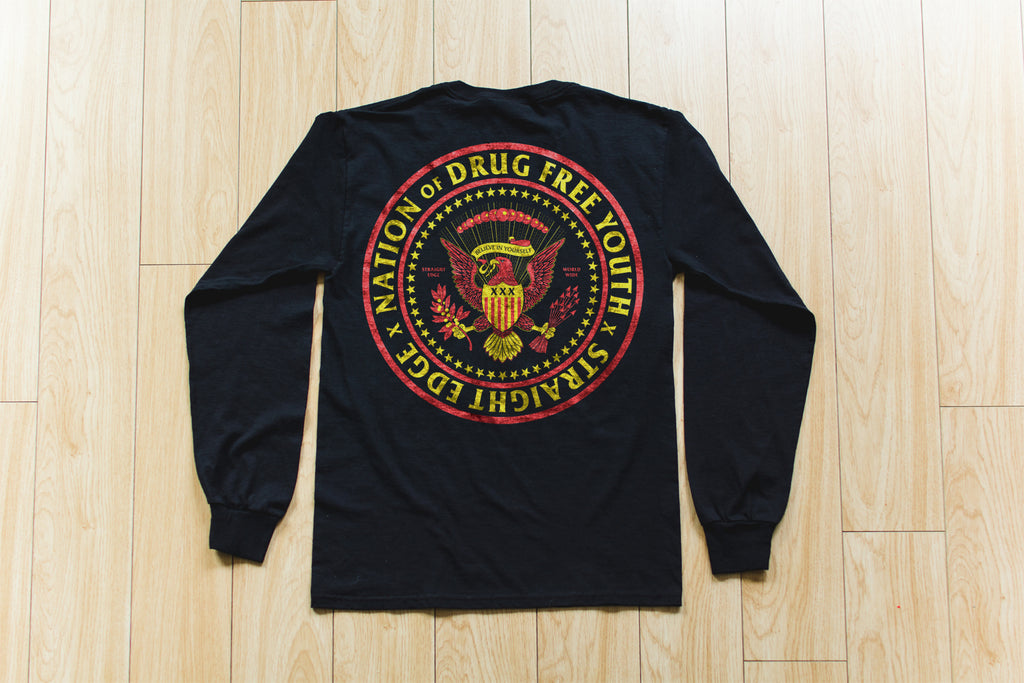 Nation of Drug Free Youth Straight Edge long sleeve t-shirt in black by STRAIGHTEDGEWORLDWIDE