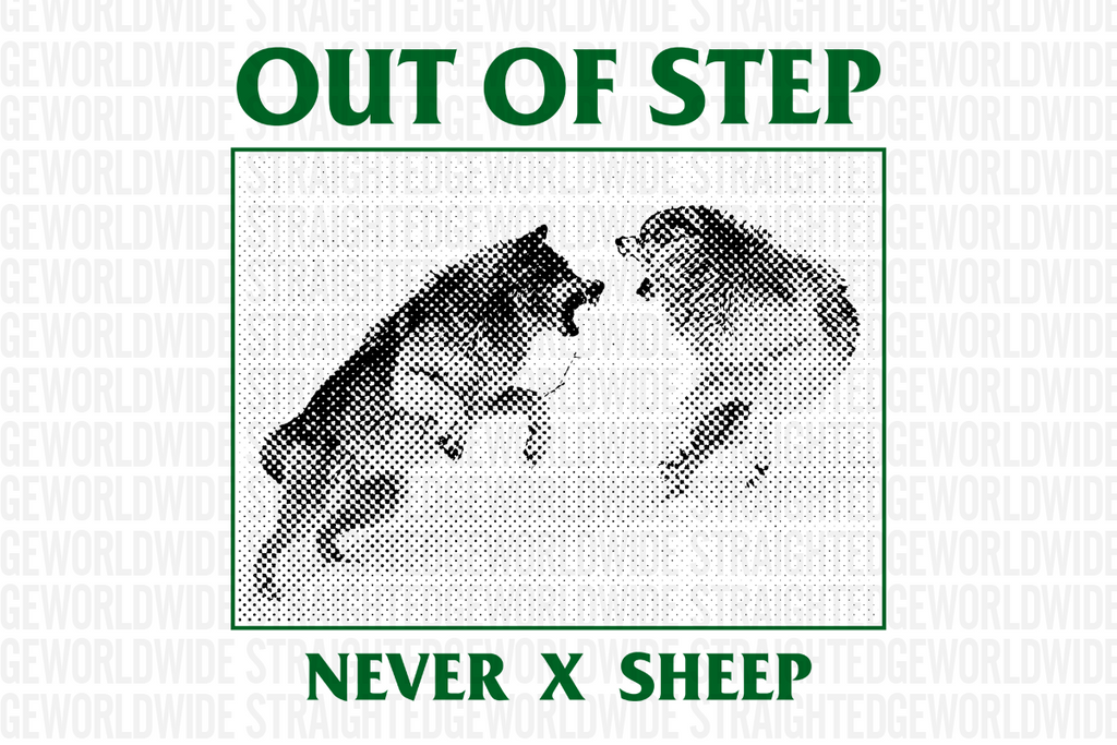 Never x Sheep Old School Straight Edge tshirt in white by STRAIGHTEDGEWORLDWIDE
