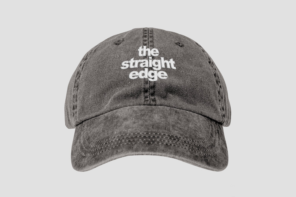 308673c78844d The Straight Edge pigment dyed strapback dad hat in black by  STRAIGHTEDGEWORLDWIDE