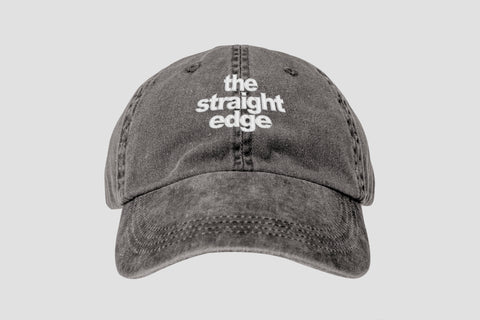 The Straight Edge pigment dyed strapback dad hat in black by STRAIGHTEDGEWORLDWIDE