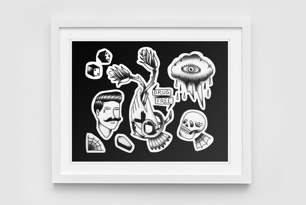 Drug Free Tattoo Art Print in Black