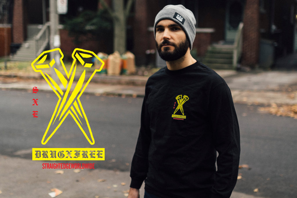 Rose in Hand straight edge long sleeve tee in black by STRAIGHTEDGEWORLDWIDE