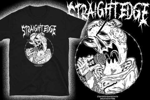 Straight Edge horror-themed black tee by SKELETONTOUCHER at STRAIGHTEDGEWORLDWIDE.com