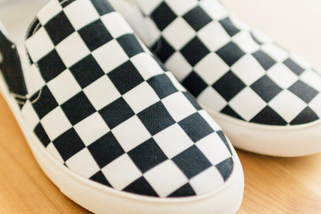 The Straight Edge Checkerboard Slip On in Black