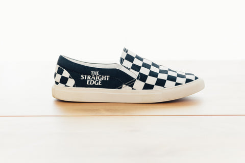 Ladies The Straight Edge Checkerboard Slip On Shoe in Black by STRAIGHTEDGEWORLDWIDE