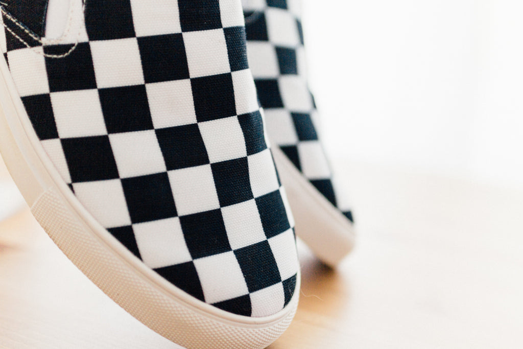 Ladies The Straight Edge Checkerboard Slip On in Black