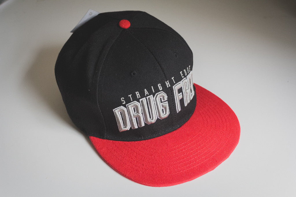 465b26f28b72e Drug Free Snapback in Red – STRAIGHTEDGEWORLDWIDE