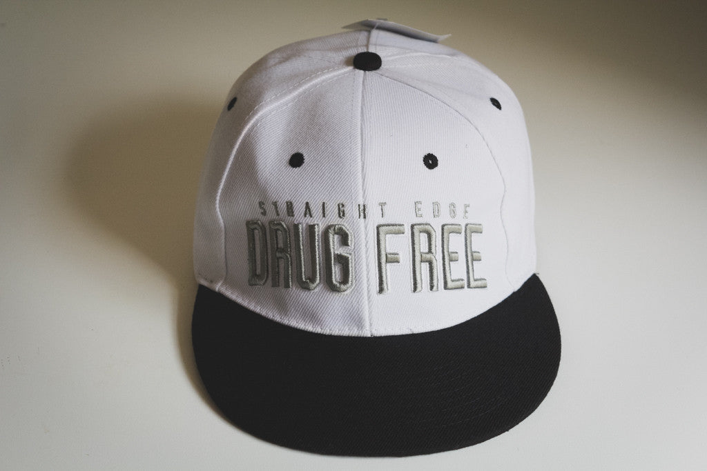 b9eb1eff919e0 Drug Free Snapback in White – STRAIGHTEDGEWORLDWIDE