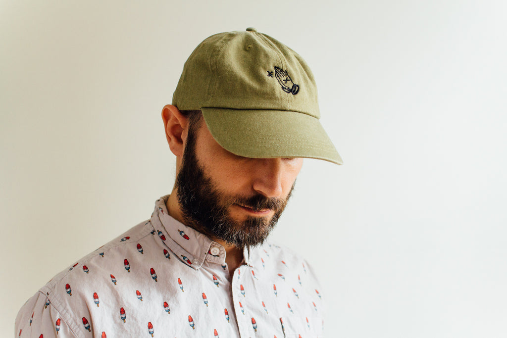 XIIICurse Straight Edge Praying Hands embroidered strapback dad hat in khaki brown by STRAIGHTEDGEWORLDWIDE