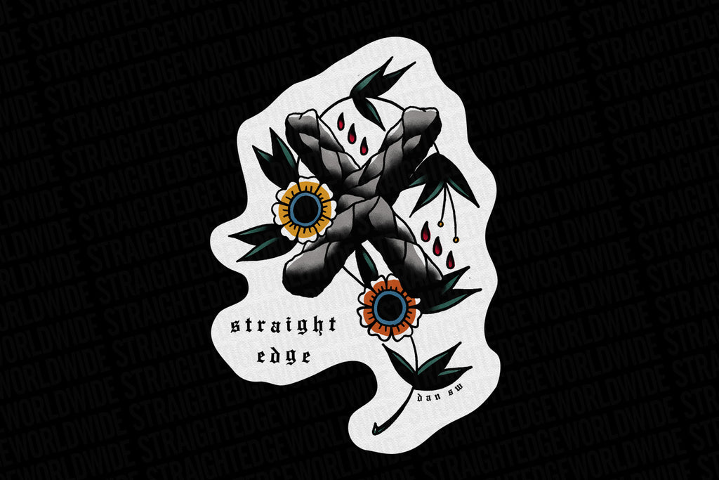 Straight Edge X Tattoo Traditional Tattoo Flash Painting by STRAIGHTEDGEWORLDWIDE