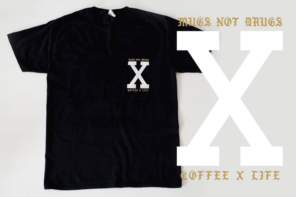 Mugs Not Drugs Coffee x Life black Straight Edge Drug Free T-shirt by STRAIGHTEDGEWORLDWIDE