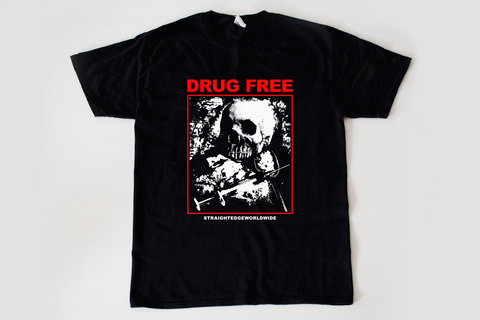 Drug Free Drug Abuse Tee tshirt in black by STRAIGHTEDGEWORLDWIDE