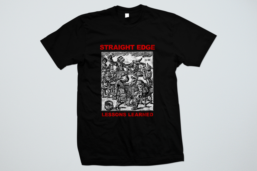 Lessons Learned Old School Straight Edge shirt in black by STRAIGHTEDGEWORLDWIDE