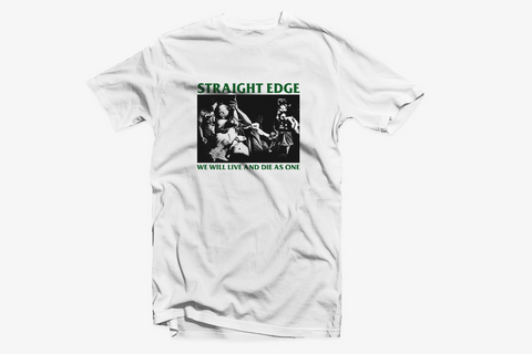 Live and Die As One Old School Straight Edge shirt in white by STRAIGHTEDGEWORLDWIDE