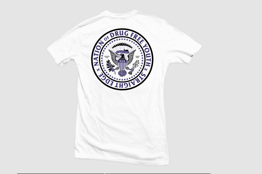 Nation of Drug Free Youth Straight Edge short sleeve t-shirt in white by STRAIGHTEDGEWORLDWIDE