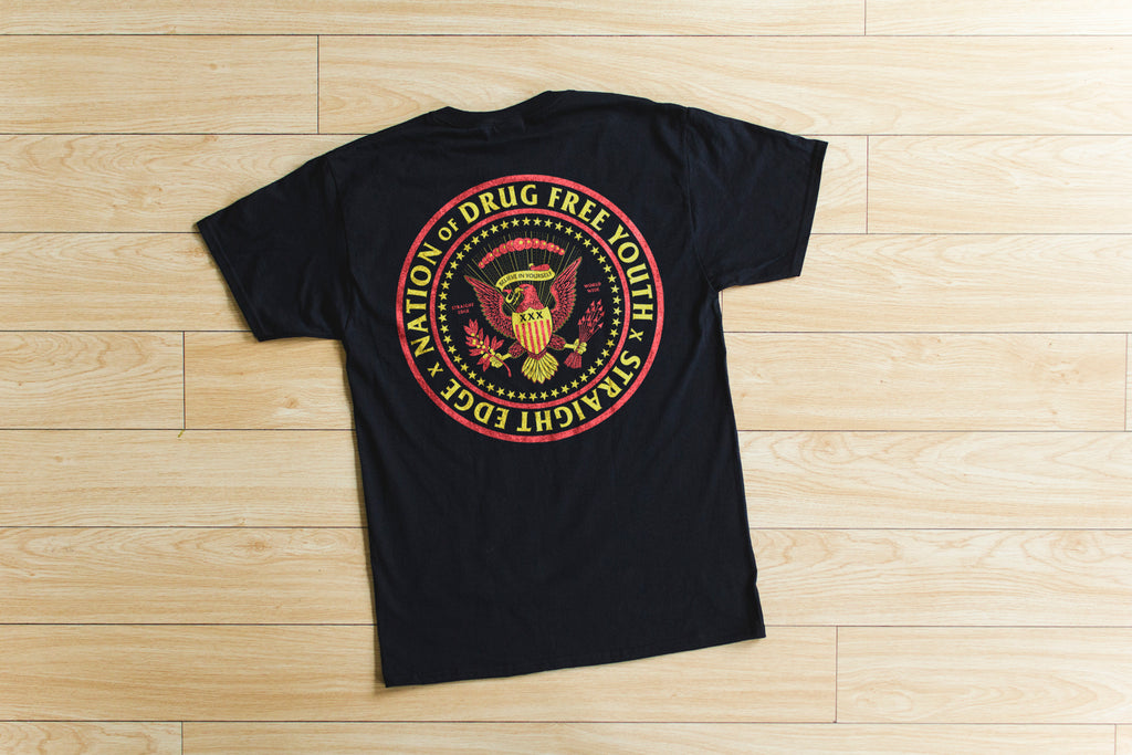 Nation of Drug Free Youth Straight Edge short sleeve t-shirt in black by STRAIGHTEDGEWORLDWIDE