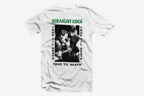 Old School Straight Edge True Til Death tee shirt in white by STRAIGHTEDGEWORLDWIDE
