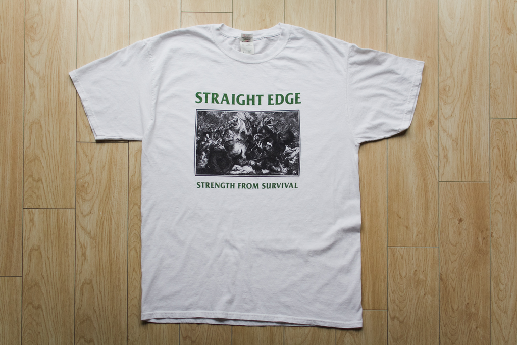 Strength From Survival Straight Edge white tee shirt by STRAIGHTEDGEWORLDWIDE