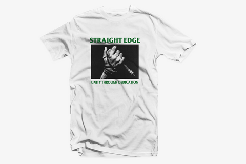 Unity Through Dedication Straight Edge tee shirt in white by STRAIGHTEDGEWORLDWIDE