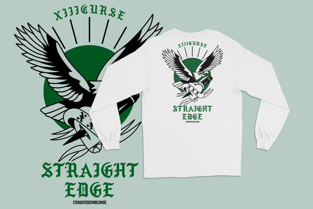 XIIICurse Straight Edge Long Sleeve Tee in White
