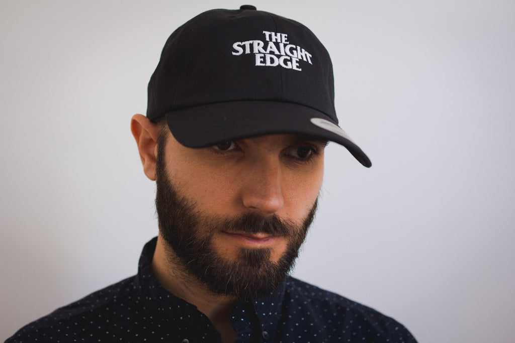 Straight edge strapback dad hat in black
