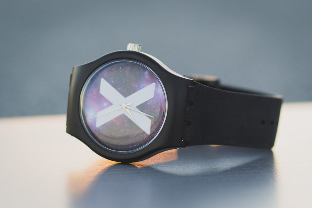 Black straight edge watch