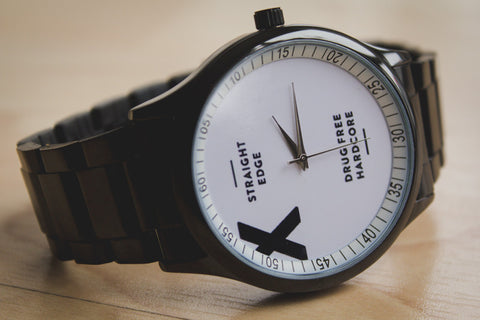 black stainless steel Straight Edge watch by STRAIGHTEDGEWORLDWIDE