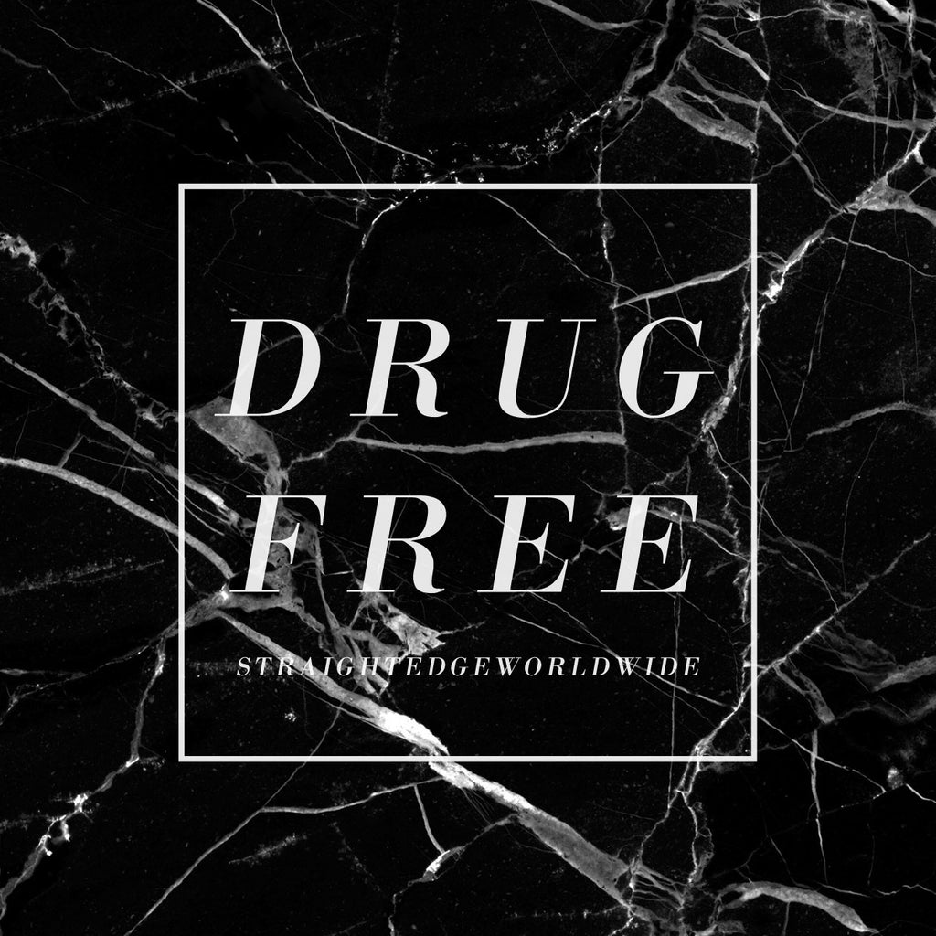 Drug Free logo on black marble background