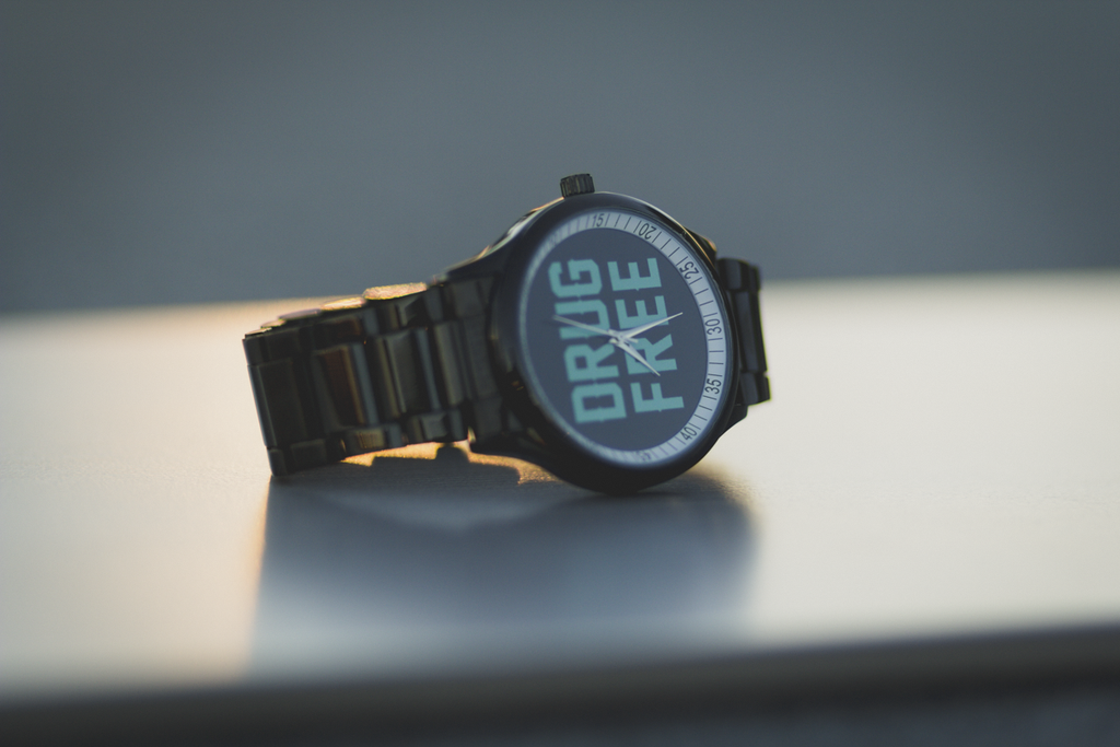 black stainless steel drug free watch