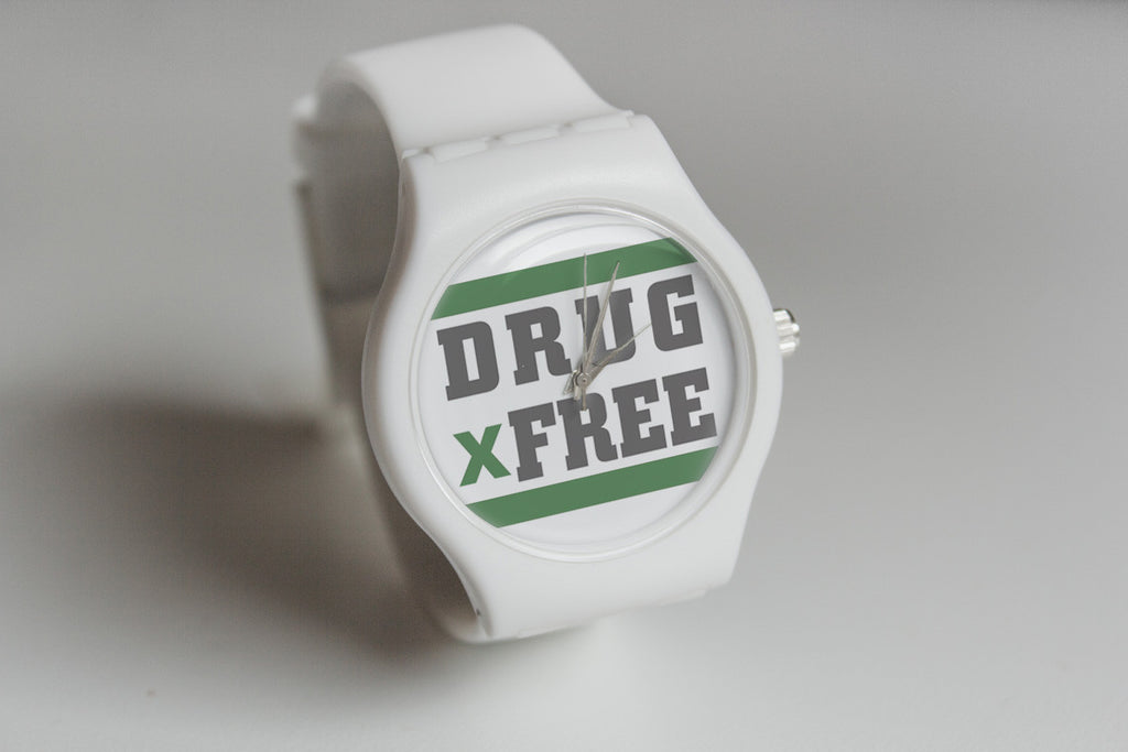 White drug free Straight Edge watch by STRAIGHTEDGEWORLDWIDE