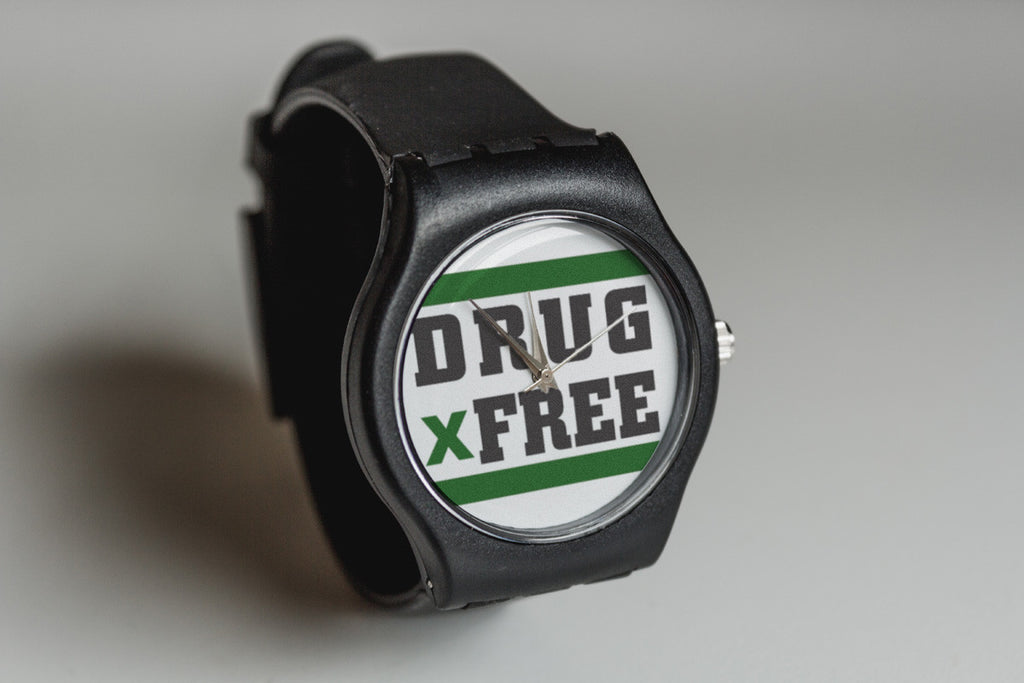 Black drug free Straight Edge watch by STRAIGHTEDGEWORLDWIDE