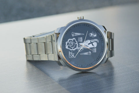Straight edge tattoo flash watch