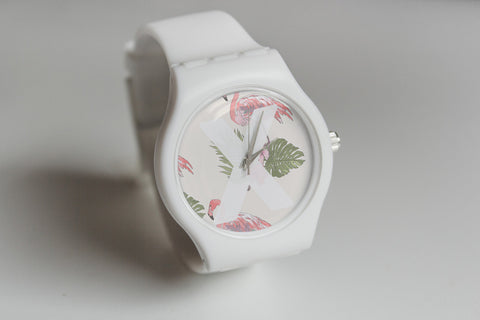 ladies white straight edge watch