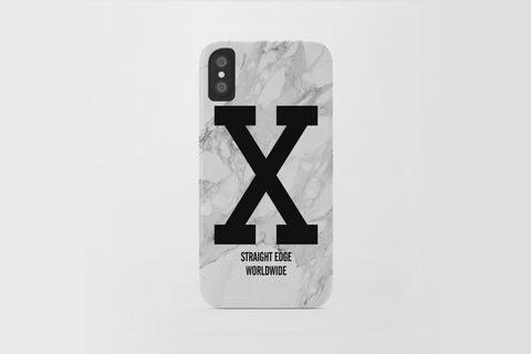 White Marble Straight Edge iPhone X Phone Case by STRAIGHTEDGEWORLDWIDE