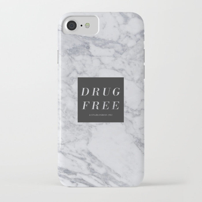 Drug Free Marble Phone Case in Matte White
