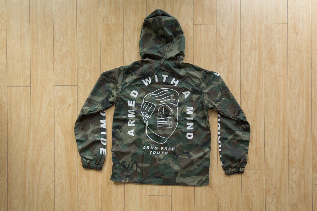 Armed With A Mind straight edge windbreaker in camo