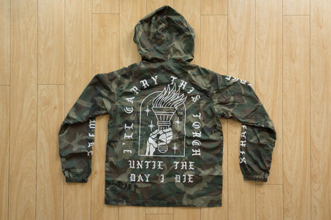 Ladies I'll Carry This Torch Straight Edge windbreaker in camo