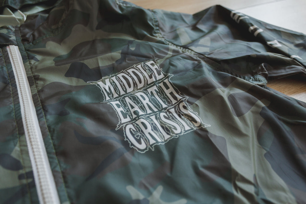 Middle Earth Crisis Straight Edge Camo Windbreaker by STRAIGHTEDGEWORLDWIDE