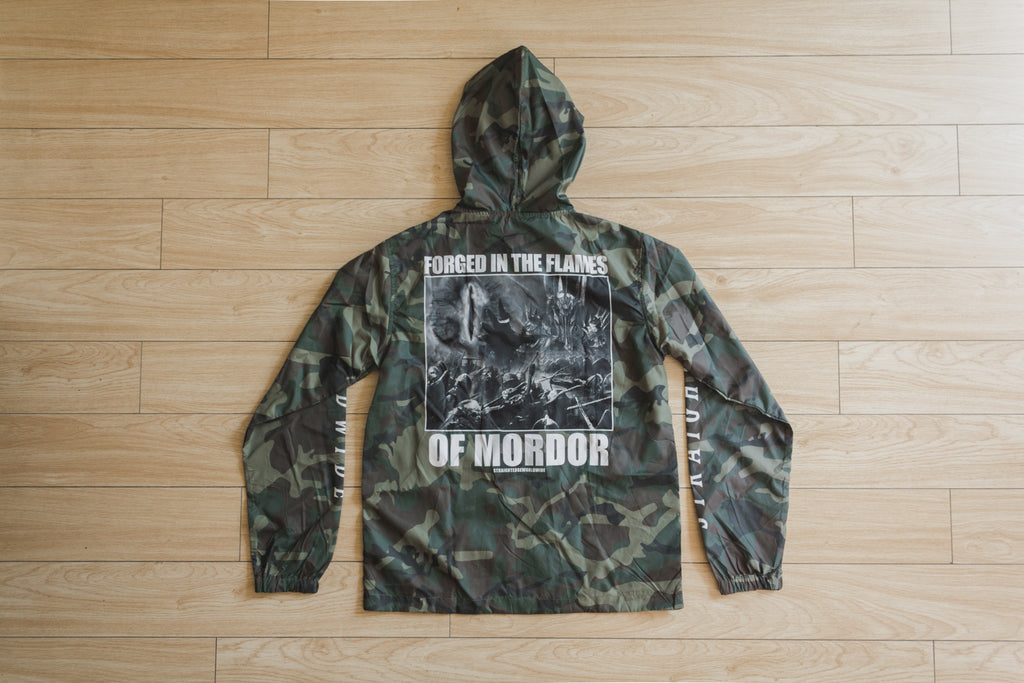 Ladies Middle Earth Crisis Straight Edge Camo Windbreaker by STRAIGHTEDGEWORLDWIDE