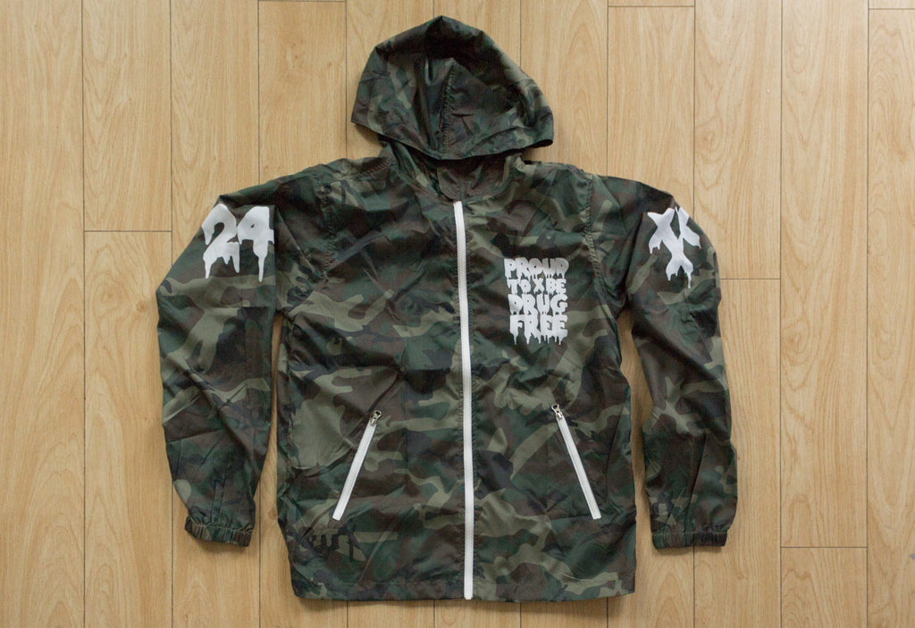 Drug Free camo windbreaker