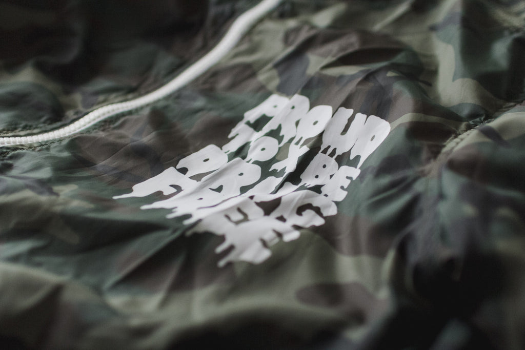 Drug Free straight edge camo windbreaker